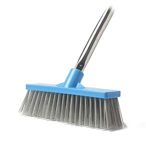 Cepillo de Limpieza para Suelos de 8.66 Pulgadas de Ancho con Mango Largo Ajustable – 44.9 Pulgadas, Escoba de cerdas rígidas, Limpieza Interior y Exterior, para baño, Cocina, Patio, Garaje