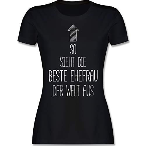 Typisch Frauen - So Sieht die Beste Ehefrau der Welt aus - XL - Schwarz - Ehefrau Geschenk - L191 - Tailliertes Tshirt für Damen und Frauen T-Shirt