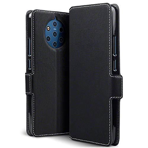 TERRAPIN, Kompatibel mit Nokia 9 PureView Hülle, Leder Tasche Hülle Hülle im Bookstyle mit Standfunktion Kartenfächer - Schwarz