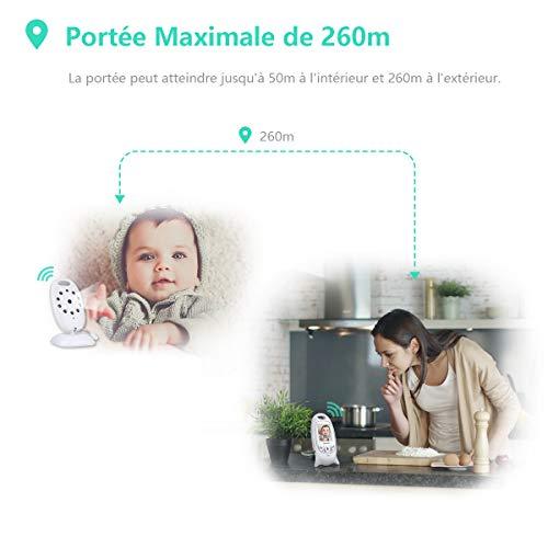 Babyphone Vidéo Caméra sans Fil 2,0 Pouces Moniteur Bébé 2,4 GHz Caméra Bébé Talkie Walkie...
