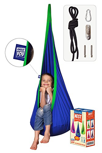 AMAZEYOU Kids Swing Hammock Pod Chair - Child's Rope Hanging Sensory Seat Nest Indoor Outdoor Use Inflatable Pillow - Great Children, All Accessories Included (Blue)