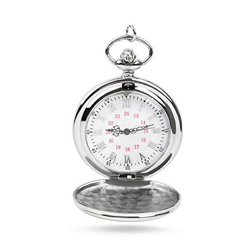 JAOMON Reloj de Bolsillo de Cuarzo Clásico Liso Reloj de Bolsillo Clásico con Letras Romanas y Cadenas para Hombres, Mujeres, Regalo de Cumpleaños, Navidad (Plata)