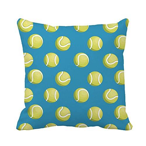 Almohadones Patrón Verde con Pelotas Tenis Dibujos Animados Amarillos Cancha Aptitud Diseño Funda Cojín Súper Cojine Funda Suave Pillow Case para Dormitorio Hogar Sala Coche