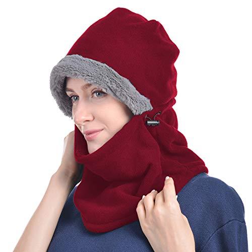 Yixda Yixda Balaclava Fleece Hood Unisex Sturmhaube Winddicht Gesichtsmaske Skimaske (Rot)