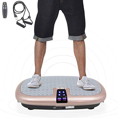 ISE Fitness Vibrationsplatte 2 Trainingsbänder,5 Traningsprogramm 99 Stufen Power,LCD Display & Fernbedienung,Vibrationsgerät mit rutschsicherer Trainingsfläche 150kg belastet