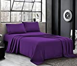 PURE BEDDING Hotel Luxury Bed Sheets - Queen Sheet Set [4-Piece, Orchid] - Sateen Weave, Premium Microfiber - Soft and Breathable - Deep Pocket Fitted Sheet, Flat Sheet, Pillow Cases