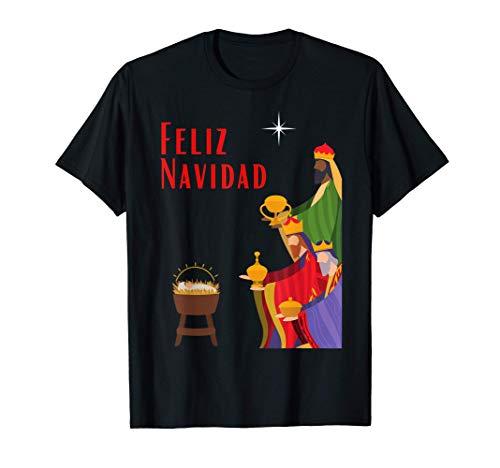 Feliz Navidad o los Tres Reyes Magos un Diseño Navideño Camiseta