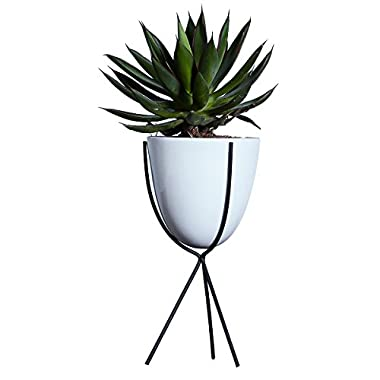AsureQ Morden Stylish Ceramic and Iron Stand Planter Flower Pot Succulent Plant Vase Holder for House Garden Patio Indoor and Outdoor Decorative (Oval)
