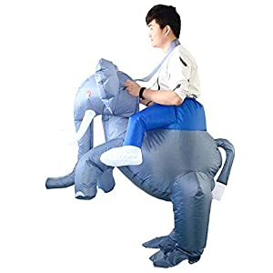 HHARTS Adult Elephant Inflatable Costume Blow up Costume Fancy Dress Costume for Halloween Cosplay Party Christmas Blue