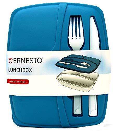 Ernesto Caja de almuerzo de 3 secciones con cuchillo y tenedor adjunto, apta para microondas y congelador