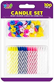 The Home Fusion Company 100 Piece Birthday Party Candle Set Assorted Coloured Candle Holders & Candles
