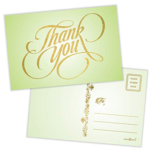 """Thank You Postcards (Pack of 50) Gold Foil Letterpress with Mailing Side 4""""x6"""" All Occasion Mailable - Rustic Green"""