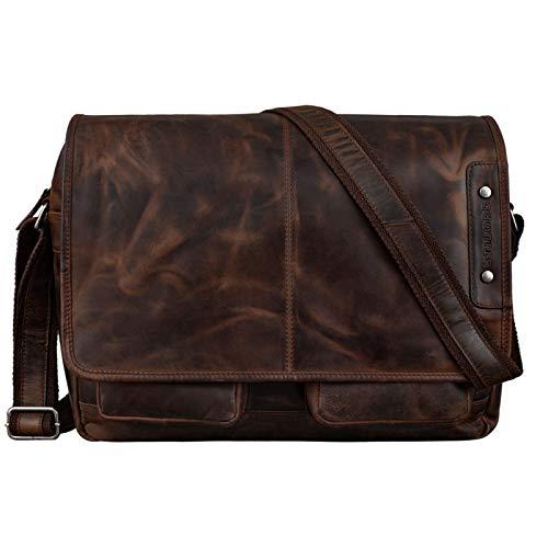 STILORD 'Curtis' Umhängetasche Leder als Messenger Bag oder Aktentasche Vintage Laptoptasche 15,6 Zoll Schultertasche Büchertasche Echtleder, Farbe:Zamora - braun