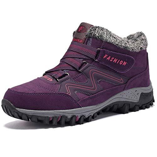 BaiMoJia Botas de Senderismo Nieve Mujer Cálidas Invierno Piel Forro Zapatillas de Senderismo Hombre Zapatos Trekking Morado 39 EU (Etiqueta 40)