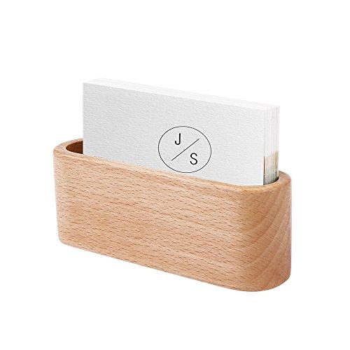 Tarjetero de madera para tarjetas de visita, soporte para tarjetas de visita, caja de almacenamiento de escritorio (amarillo claro)