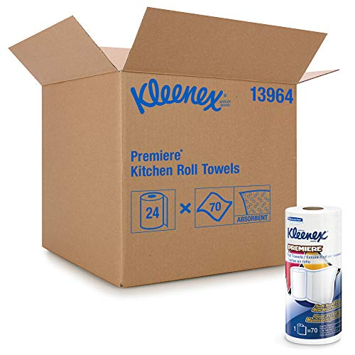 Kimberly Clark Professional Towels Premier Kitchen Paper Towels (13964), Cloth-Like Softness, Perforated, 24 Rolls / Case, 70 Kleenex Paper Towels / Roll, White
