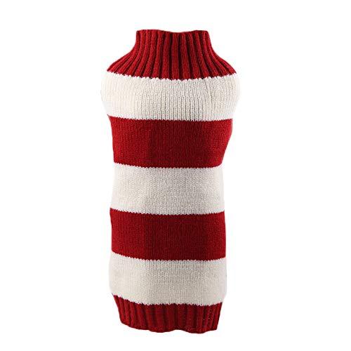 Wimagic 1 jersey para perro de lana suave y cálida para mascota, de punto rojo y blanco, a rayas rojas y blancas, accesorios para exteriores para cachorros, lana, Rojo, 30*30CM-XS