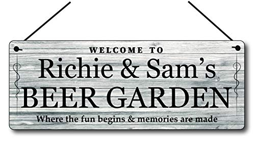 Maggie-mais Personalised Beer Garden Sign Metal Gin Plaque Gifts, Bar, Kitchen,