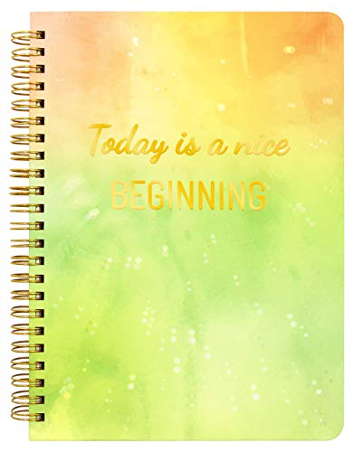 """Hardbound Journal Ruled Hard Cover Notebook Spiral Notebook Watercolor Design """"Today is a nice BEGINNING"""" 6.25"""" x 8.25"""""""