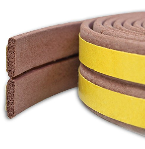 Bro Door Window Draught Excluder Strip Foam Seal Weather Stripping EPDM Tape Adhesive Rubber Soundproofing Weatherstrip, 9mm x 2mm x 3 Meters, 4 Seals Total 12M (I type, Brown)