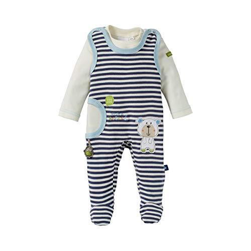 Bornino Grenouillère avec T-Shirt à Manches bébé Ensemble bébé, Bleue/Blanc