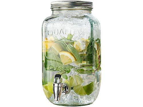 PEARL Wasserspender: Retro-Getränkespender aus Glas, Einmachglas-Look, Zapfhahn, 3,5 Liter (Wasserspender mit Zapfhahn)