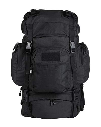 55L 'Commando' Army/Military Trekking Hiking Rucksack in Black, Olive and Flecktarn Camo (Internal Frame) (Black)
