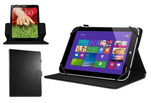 Navitech 8 Zoll schwarzes rotierbares Bicast Leder Case Cover für das Dell Venue 8 pro