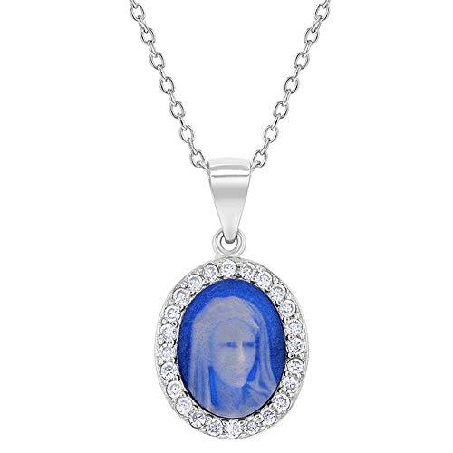 Collar con colgante de medalla de María Virgen Inmaculada de plata de ley 925 con circonita transparente de 48,26 cm