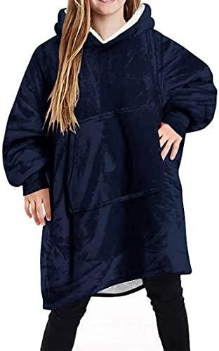 MVNZXL Manta suave con mangas, manta portátil, para niños, de gran tamaño, con capucha, con bolsillo, de franela cálida, cómoda y mullida, para niños y niñas (color: azul)