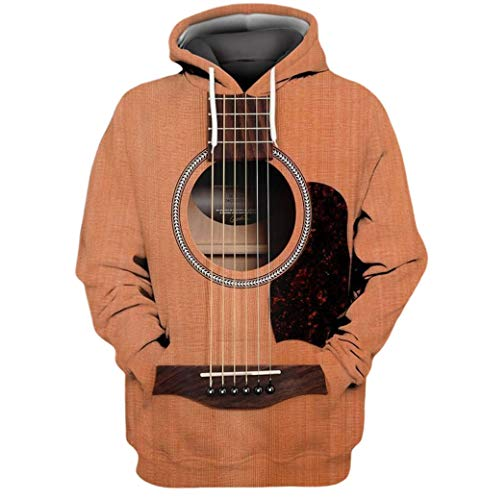 Brown Vintage Guitar All Over Print 3D T-Shirt, Hoodie, Zip Hoodie, Sweatshirt Size S-5XL for Mens and Womans