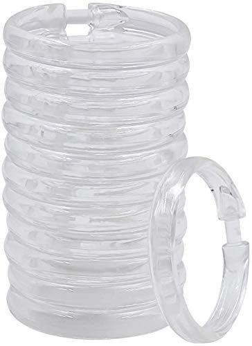 Qulable 12 Packs Circular Shower Curtain Rings, Plastic Curtain O Rings Hooks for Bathroom, Glide Easily on Bathroom Shower Rod