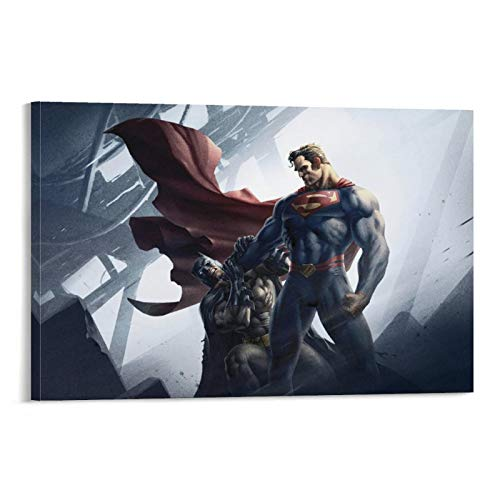 Bat-Man y Superman en Bat-Man Hush Artwork Painting, 24 x 36 pulgadas (60 x 90 cm) decoración minimalista para el hogar, sala de estar, dormitorio, póster de videojuego