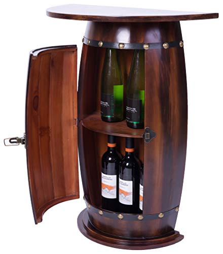 Vintiquewise Bar End Table Lockable Cabinet Wooden Wine Barrel Console, 30 in. Tall, Brown