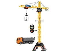 "The Dickie Toys Construction Mega Crane: mega toy for mega fun! The 48"" toy crane with cable remote control is a present that is sure to make children's eyes light up. The crane cabin rotates by 350 degrees at the press of a button, the trolley and w..."