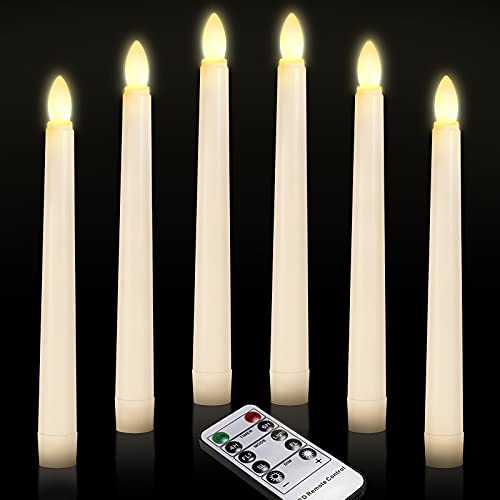 LED Window Candles, Ymenow 6pcs Battery Operated LED Flameless Flickering Electric Taper Candle with Remote Timer for Home Wedding Holiday Christmas Xmas Tree New Year Parties Decor - Warm White