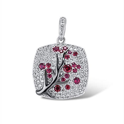 Santuzza 925 Sterling Silver Delicate Cherry Tree Pendants Created Ruby Stone Shiny White Cubic Zirconia Jewelry