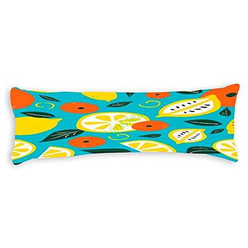 VinMea - Federa morbida per cuscino, motivo limoni e arance, 50 x 150 cm