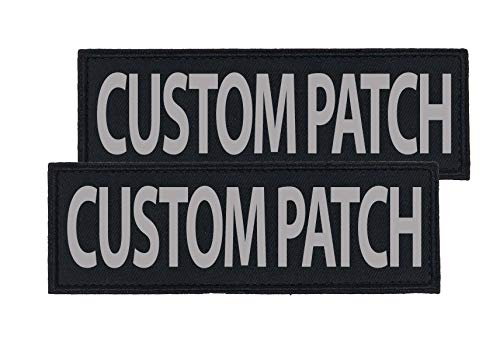 Dogline Custom Reflective Patch for Vest Harness Or Collar Customizable Text Personalized Patches with Hook Backing Name Service Dog in Training Emotional Support (2 Patches) - 2' x 6'