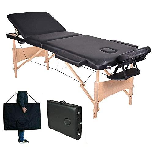 ZCZZ Mesa de Masaje Plegable Sofá de Tratamiento de Belleza Curación Sofá de 3 Secciones Ligero Salón de Belleza Terapia de Tatuajes Marco de Madera con Orificio Facial Ajuste de Altura, 500 libr