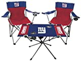Rawlings NFL 3-Piece Tailgate Kit, 2 Gameday Elite Chairs and 1 Endzone Tailgate Table, New York Giants