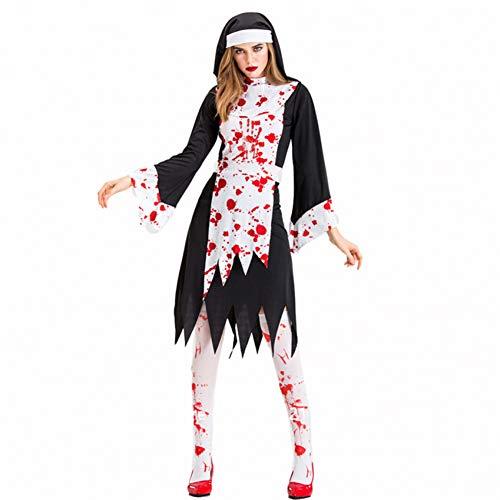 GBYAY Disfraz de Cosplay de Halloween para Mujer Vestido de Sacerdote Sacerdote de Terror Disfraz de Zombie Fiesta de Carnaval de Diablo Femenino