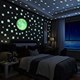 Yosemy Luminoso Pegatinas de Pared Luna y Estrellas, Fluorescente Decoración de Pared para...