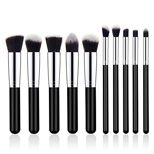 Generies 10 Pcs Maquillage Brosses Kit Cosmétique Oeil Visage Poudre Fondation Brosses Outil Eyeliner Correcteur Brosses Cosmétique Maquillage Brosses