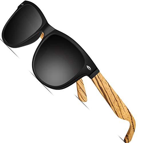 FEIDU Holz Sonnenbrille Herren Damen - UV-Schutz Große Retro Polarized Sonnenbrille für Herren und Damen 9010 (1Sand Schwarz, 14.5)