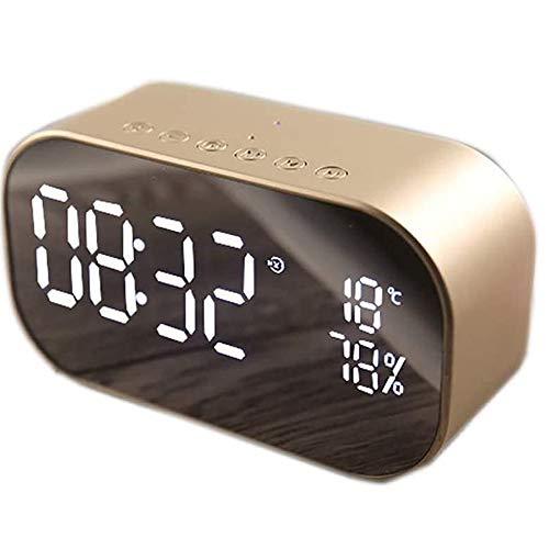 Angelay-Tian Radio Altavoz Bluetooth, Radio FM Bluetooth 4.2 Conexión, Reloj de Espejo LED for Dormitorio Inicio de Audio de Escritorio (Size : C)