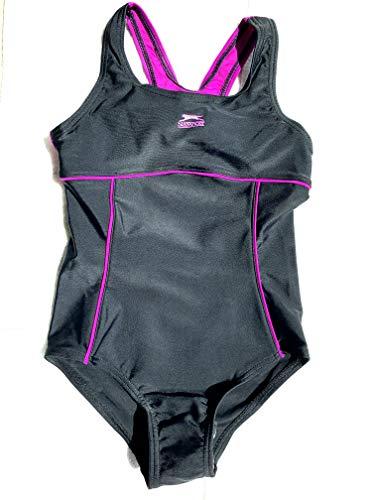 Slazenger 5-6 Jahre Slazenger Mädchen Badeanzug in der Farbe : schwarz/pink