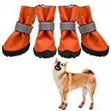 SCENEREAL Dog Boots Waterproof Anti-Slip Dog Shoes for Outdoor Summer Hot Pavement Soft Comfortable, Orange