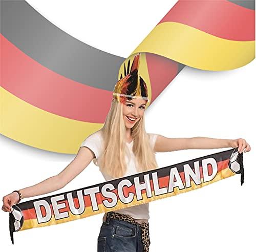 TK Gruppe Timo Klingler Fanschal Deutschland Fan schwarz, rot, gelb (Gold), als Deko, Dekoration, Partydeko für Fußball, Fußball Europameisterschaft EM 2021