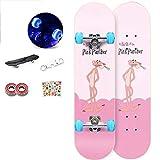 YSCYLY Monopatin Skateboard,Tablero de Truco de Doble Patada de 80 * 20 cm con Ruedas Flash,Patineta Adultos para NiñOs